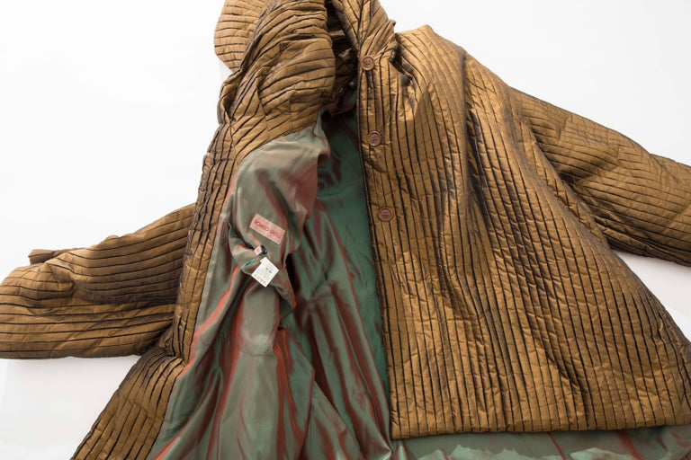Romeo Gigli Bronze Silk Satin Nylon Hooded Coat, Fall 1989 For Sale 14