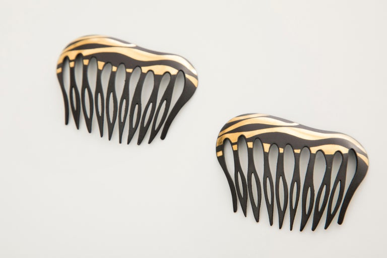 Contemporary Angela Cummings Tiffany & Co. Damascene Lacquered Iron Gold Hair Combs, 1970's For Sale