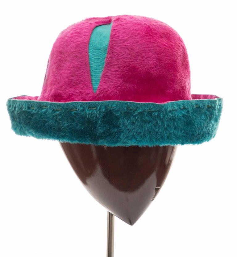 Blue Yves Saint Laurent Faux Fur Cloche Hat, Circa: 1960's For Sale