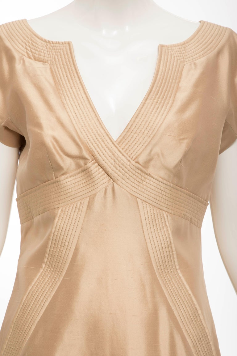 Beige Alexander McQueen Silk Evening Dress, Spring 2006 For Sale