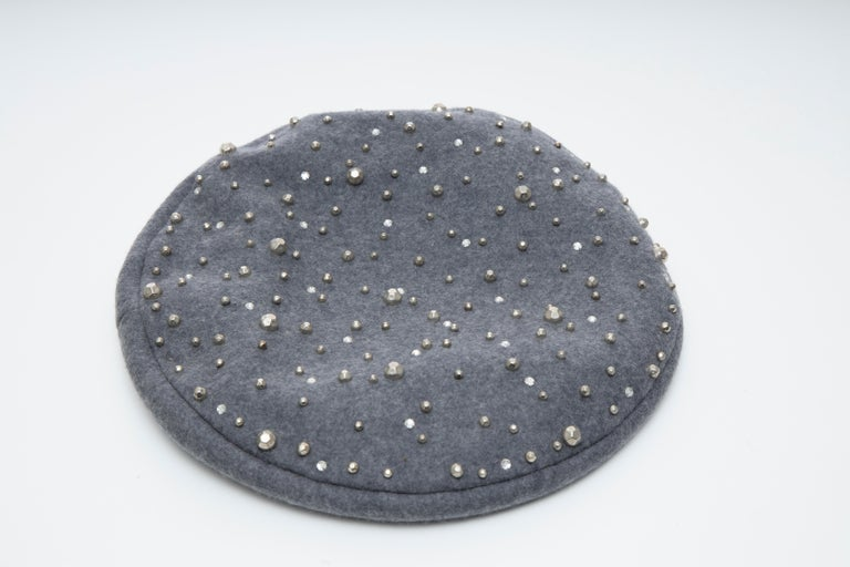 Adolfo, Circa:1960's  Charcoal Grey Wool Faceted Silver Studs Prong Set Crystals Beret.  Circumference: 23