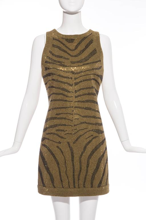 """Balmain Pre-Fall 2014, olive green sleeveless dress with gold and black zebra print crystals throughout and exposed back zip closure. EU.size 38, US size 6  Bust 32"""", Waist 28"""", Hips 30"""", Length 33"""""""