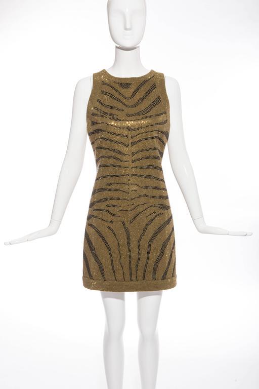Black Balmain Sleeveless Dress With Crystal Embellished Zebra Print, Pre-Fall 2014 For Sale