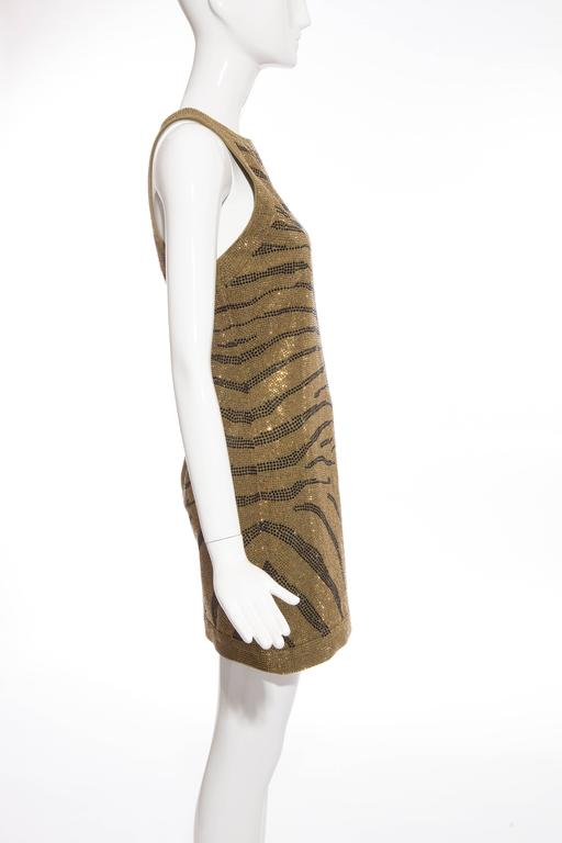 Balmain Sleeveless Dress With Crystal Embellished Zebra Print, Pre-Fall 2014 In New never worn Condition For Sale In Cincinnati, OH