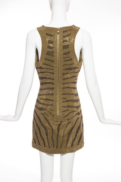 Women's Balmain Sleeveless Dress With Crystal Embellished Zebra Print, Pre-Fall 2014 For Sale
