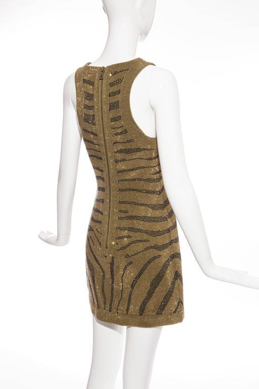 Balmain Sleeveless Dress With Crystal Embellished Zebra Print, Pre-Fall 2014 For Sale 2