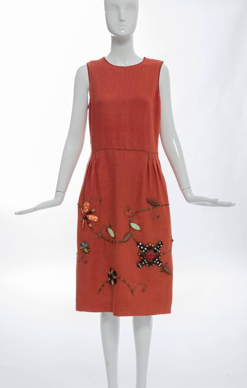Red Oscar de la Renta Sleeveless Linen Dress Wood Bead Embroidery, Spring 2006 For Sale