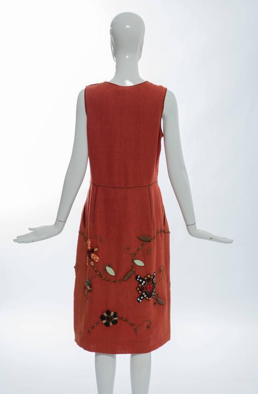 Women's Oscar de la Renta Sleeveless Linen Dress Wood Bead Embroidery, Spring 2006 For Sale