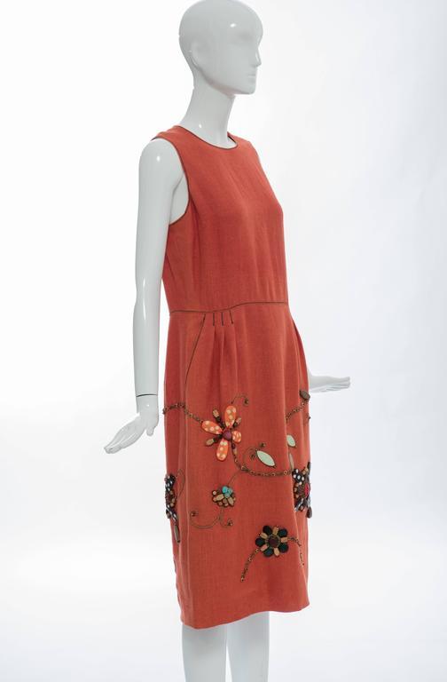 Oscar de la Renta Sleeveless Linen Dress Wood Bead Embroidery, Spring 2006 For Sale 1