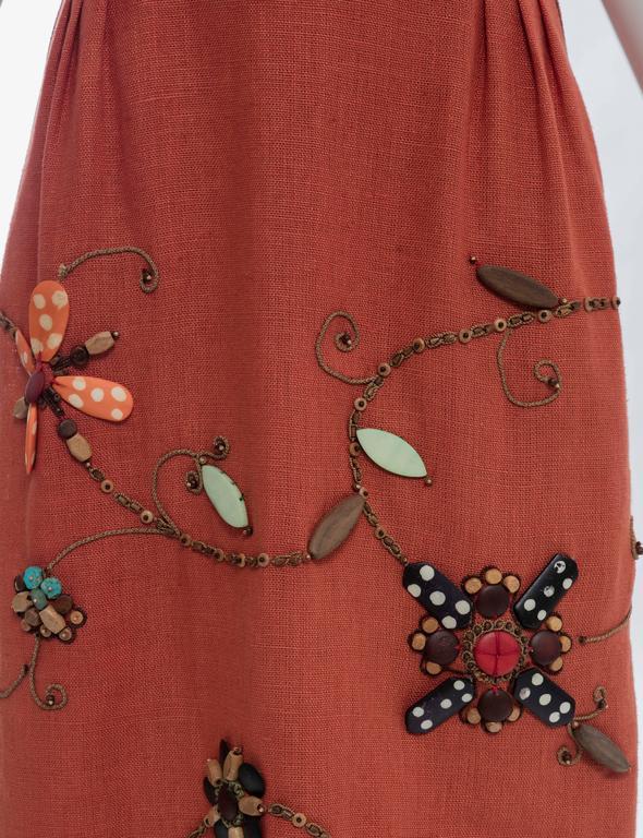 Oscar de la Renta Sleeveless Linen Dress Wood Bead Embroidery, Spring 2006 For Sale 2