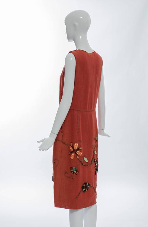 Oscar de la Renta Sleeveless Linen Dress Wood Bead Embroidery, Spring 2006 For Sale 4