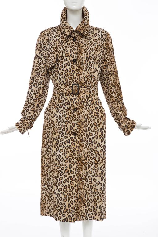 Alexander McQueen, Autumn-Winter 2005 leopard print silk trench coat with removable belt, two front pockets, inverted pleat at back and front button closures.