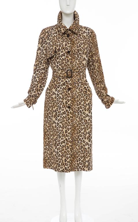 Brown Alexander McQueen Silk Leopard Print Trench Coat, Autumn-Winter 2005 For Sale