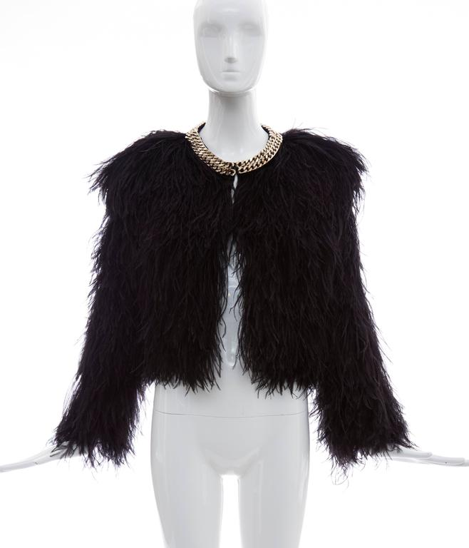 Givenchy Black Ostrich Feather Jacket With Gold Chain Trim Collar In Excellent Condition For Sale In Cincinnati, OH