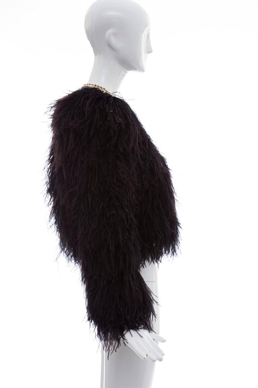 Women's Givenchy Black Ostrich Feather Jacket With Gold Chain Trim Collar For Sale