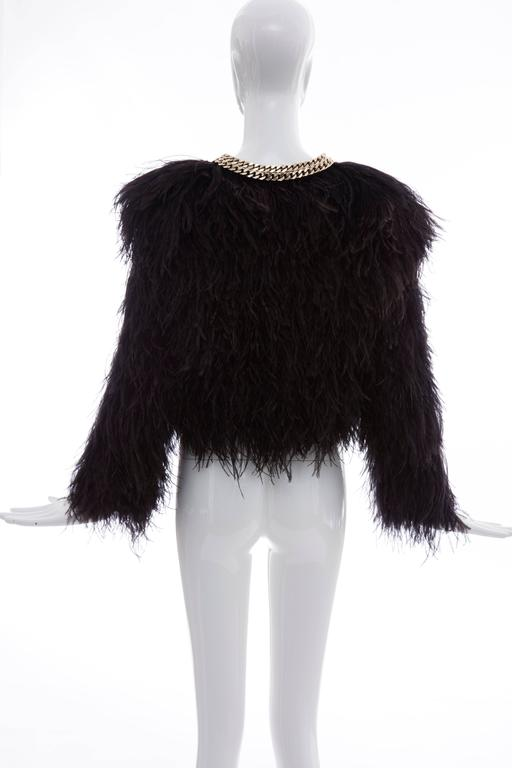 Givenchy Black Ostrich Feather Jacket With Gold Chain Trim Collar For Sale 1
