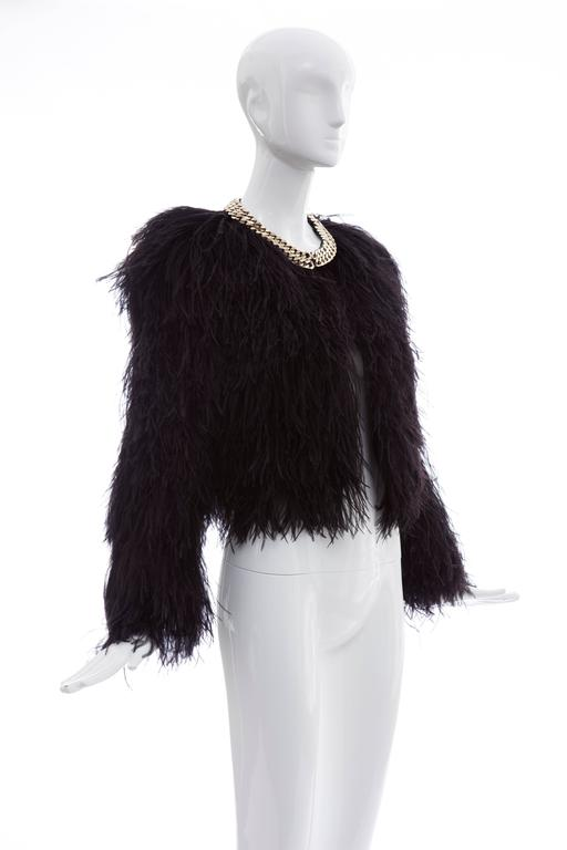 Givenchy Black Ostrich Feather Jacket With Gold Chain Trim Collar For Sale 2