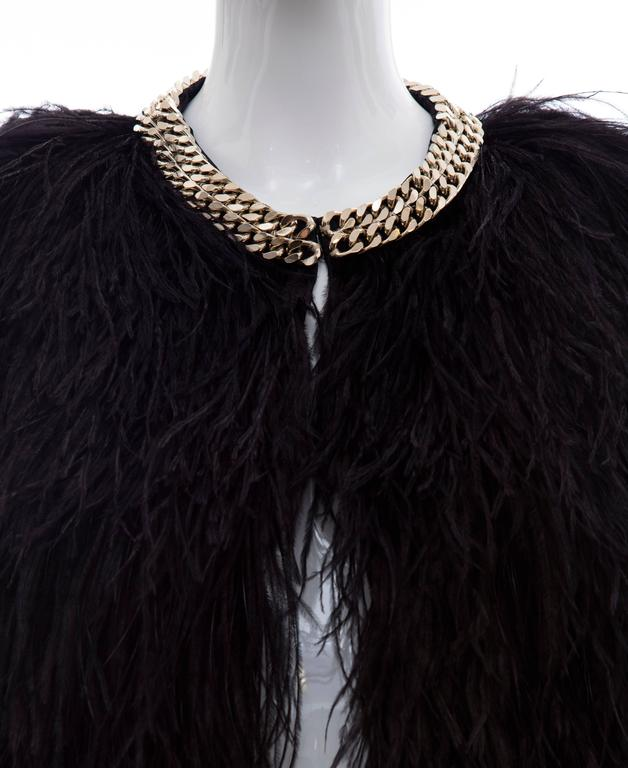Givenchy Black Ostrich Feather Jacket With Gold Chain Trim Collar For Sale 3