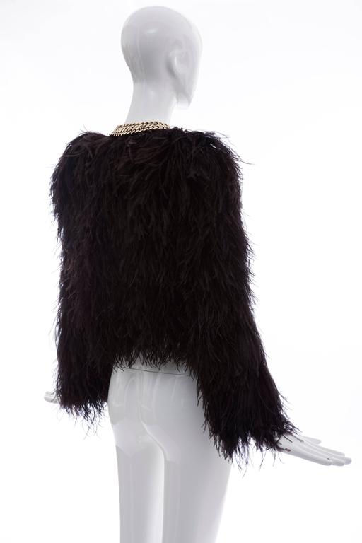 Givenchy Black Ostrich Feather Jacket With Gold Chain Trim Collar 4