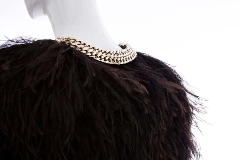 Givenchy Black Ostrich Feather Jacket With Gold Chain Trim Collar 5