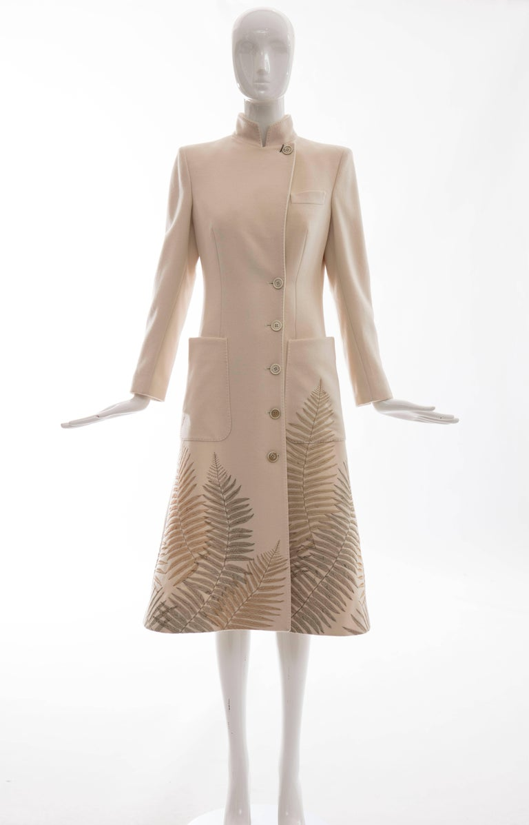 Beige Alexander McQueen Cream Cashmere Coat With Fern Embroidery, Autumn - Winter 2007 For Sale