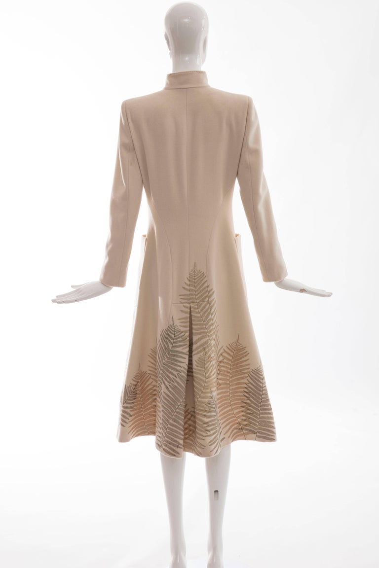 Alexander McQueen Cream Cashmere Coat With Fern Embroidery, Autumn - Winter 2007 In New never worn Condition For Sale In Cincinnati, OH