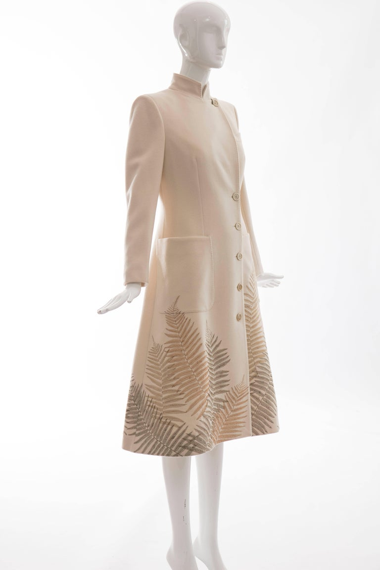Women's Alexander McQueen Cream Cashmere Coat With Fern Embroidery, Autumn - Winter 2007 For Sale