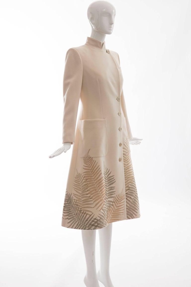 Alexander McQueen Cream Cashmere Coat With Fern Embroidery, Autumn - Winter 2007 5