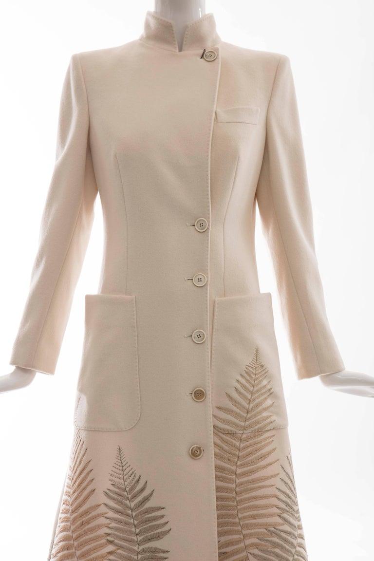 Alexander McQueen Cream Cashmere Coat With Fern Embroidery, Autumn - Winter 2007 6