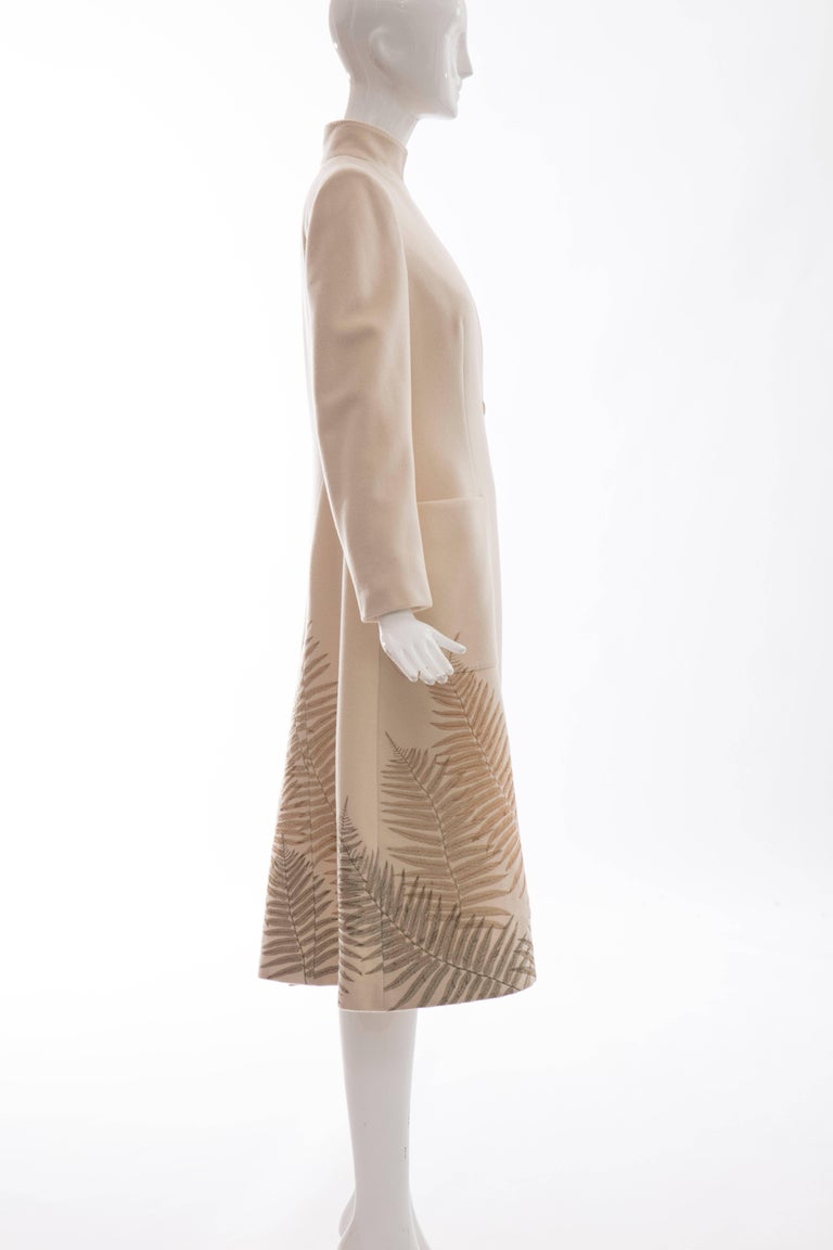 Alexander McQueen Cream Cashmere Coat With Fern Embroidery, Autumn - Winter 2007 For Sale 4