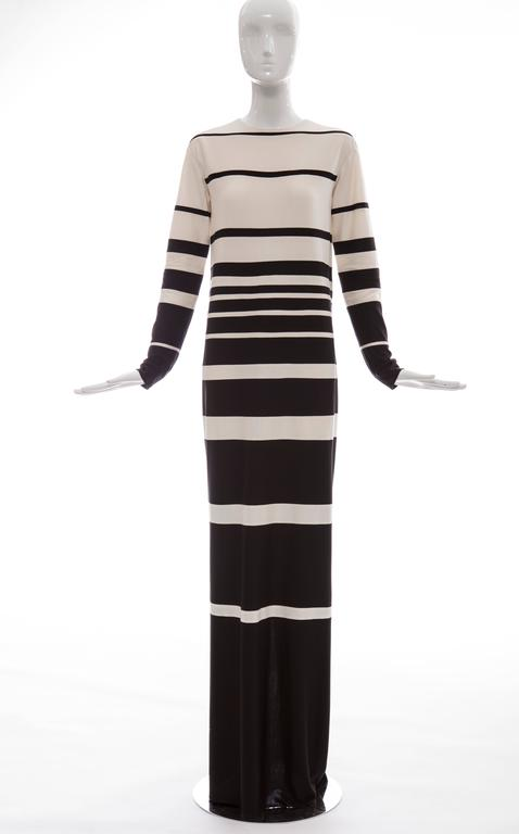 """Marc Jacobs, Spring 2013 silk crew neck maxi dress with ascending stripe pattern and concealed zip closure at back.  US 4  Bust 37"""", Waist 37"""", Hip 38"""", Length 65"""""""