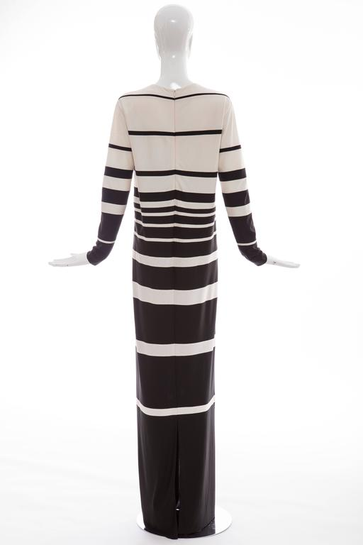 Black Marc Jacobs Runway Silk Crew Neck Striped Maxi Dress, Spring 2013 For Sale