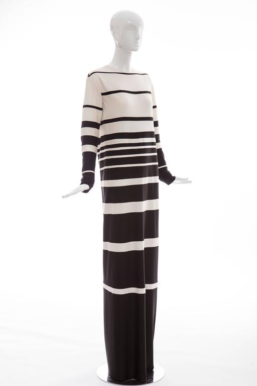 Women's Marc Jacobs Runway Silk Crew Neck Striped Maxi Dress, Spring 2013 For Sale