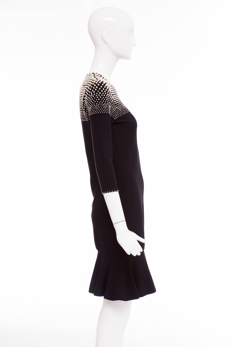 Alexander McQueen Black Knit Dress With Pearl Neckline, Autumn - Winter 2013 For Sale 1