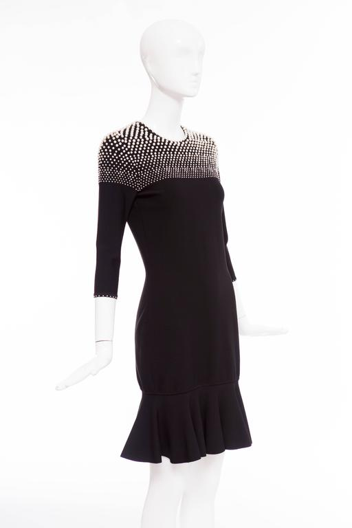 Alexander McQueen Black Knit Dress With Pearl Neckline, Autumn - Winter 2013 For Sale 2