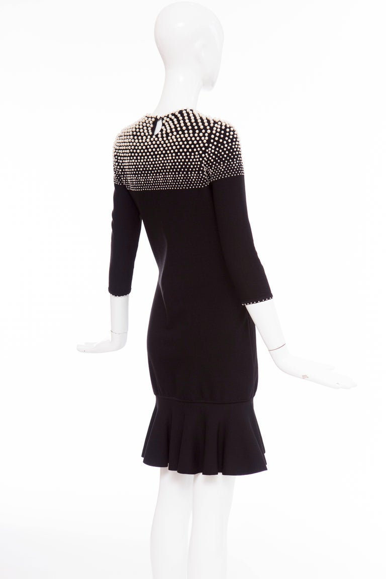 Alexander McQueen Black Knit Dress With Pearl Neckline, Autumn - Winter 2013 For Sale 4