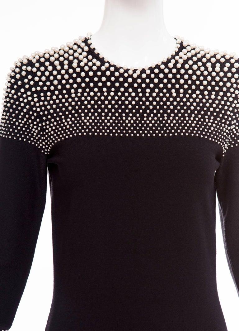 Alexander McQueen Black Knit Dress With Pearl Neckline, Autumn - Winter 2013 For Sale 3