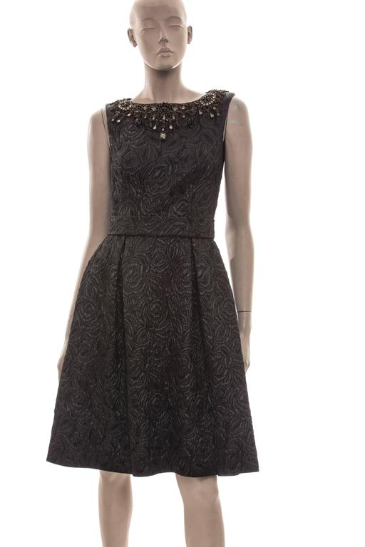 Monique Lhuillier black jacquard cocktail dress with incredible diamante front and back detail,black jacquard belt,back zipper and fully lined in silk.