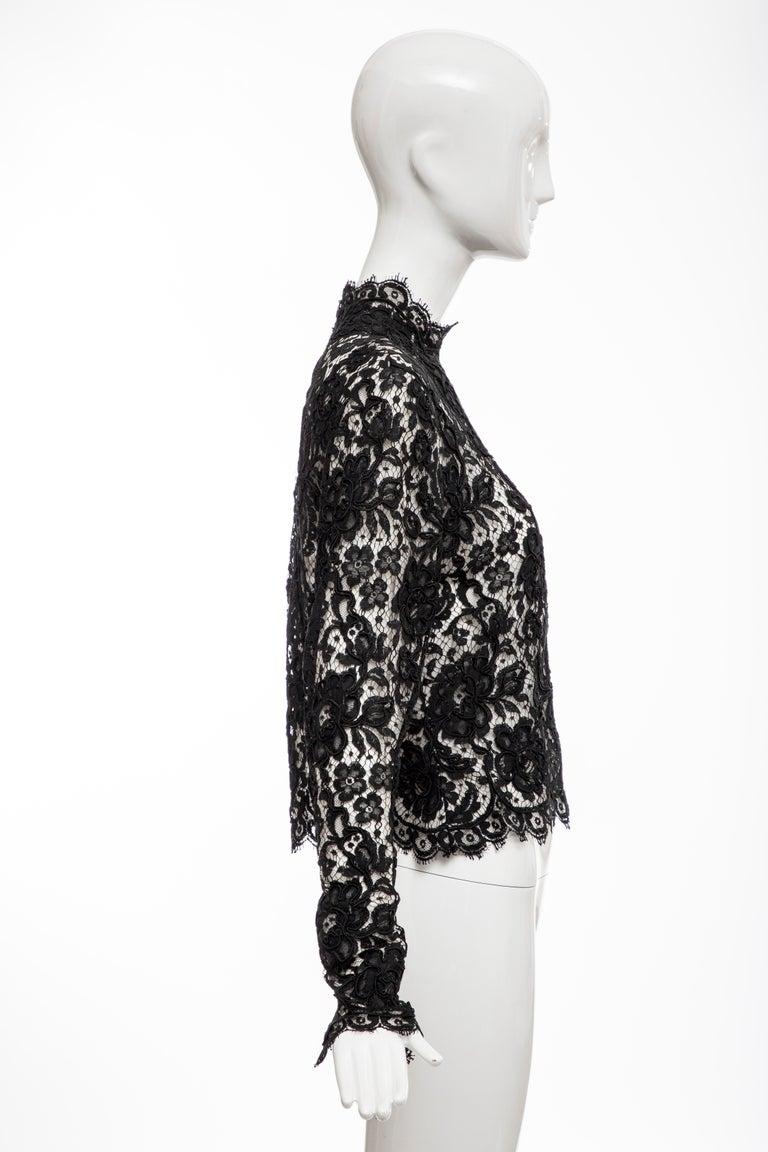 Bill Blass Black Lace Top, Circa: 1970's In Excellent Condition For Sale In Cincinnati, OH