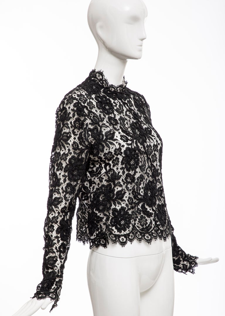 Bill Blass Black Lace Top, Circa: 1970's For Sale 2