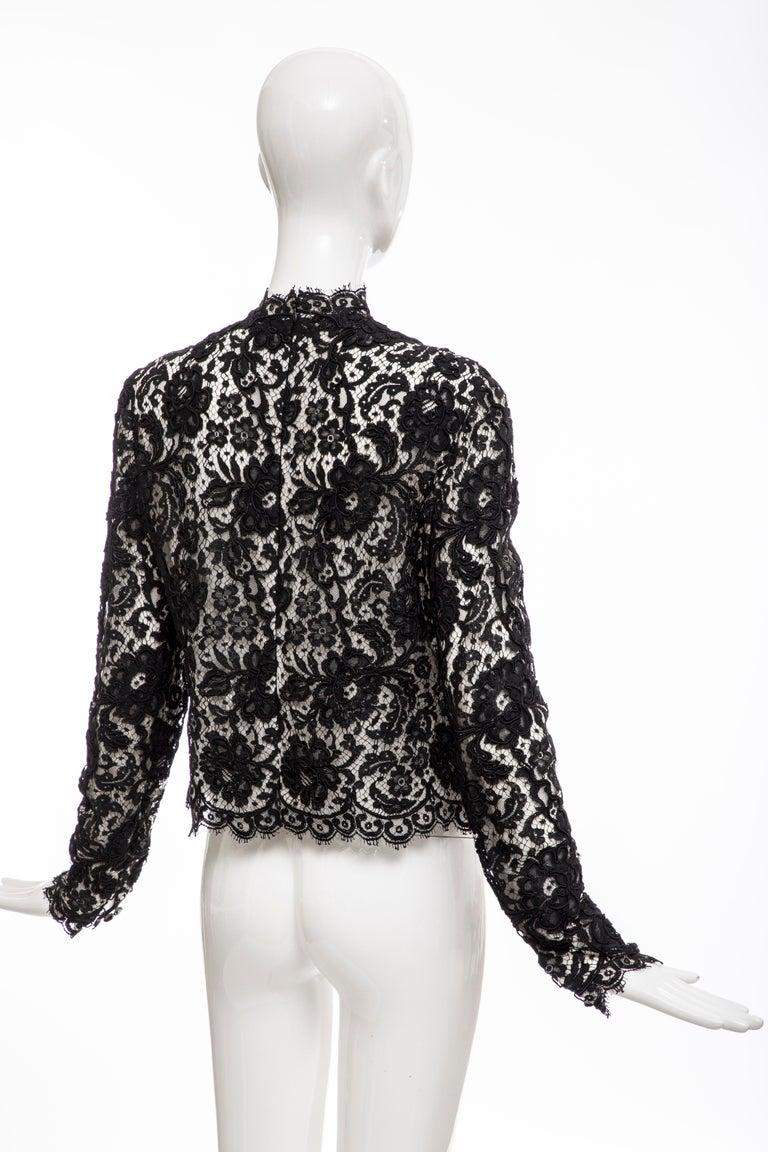 Bill Blass Black Lace Top, Circa: 1970's For Sale 3