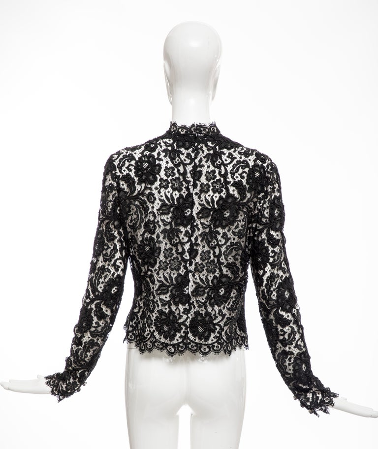 Women's Bill Blass Black Lace Top, Circa: 1970's For Sale