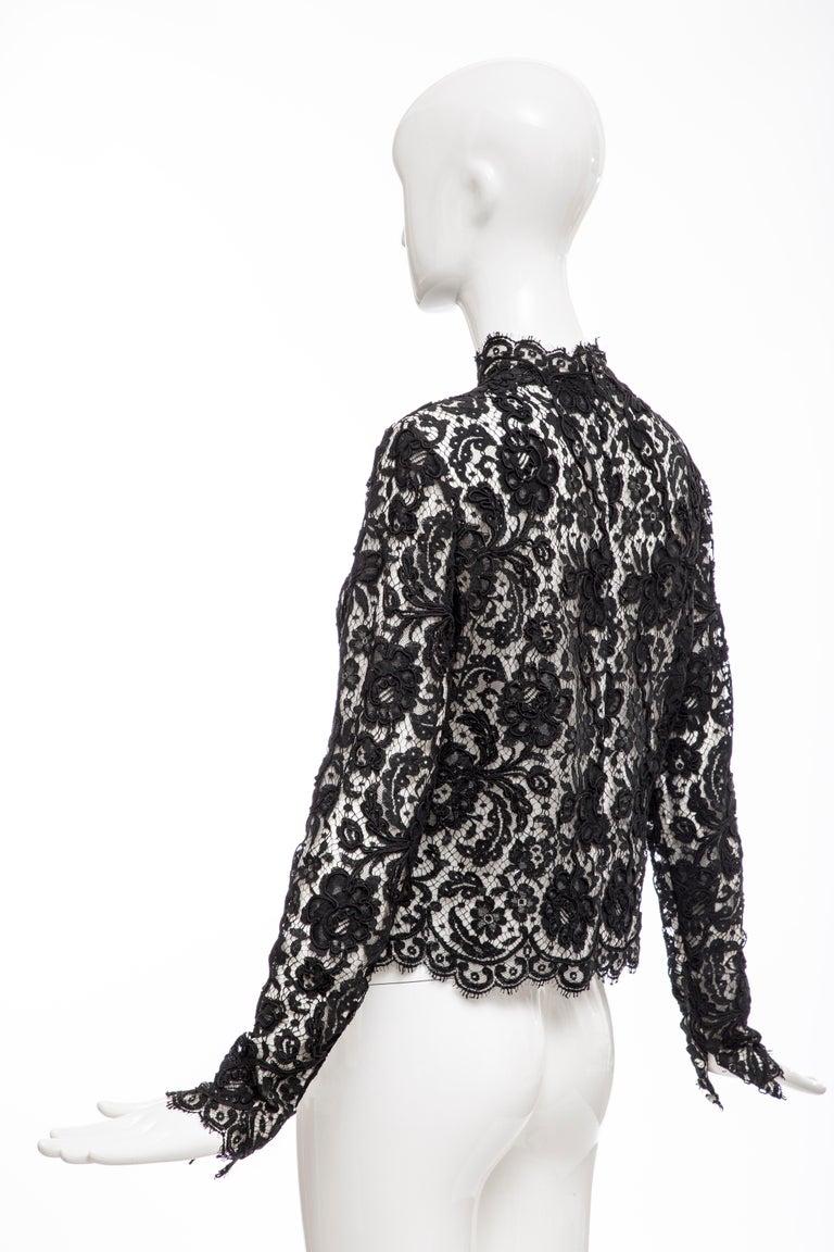 Bill Blass Black Lace Top, Circa: 1970's For Sale 4
