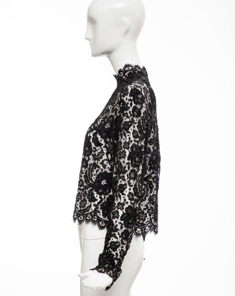Bill Blass Black Lace Top, Circa: 1970's For Sale 5