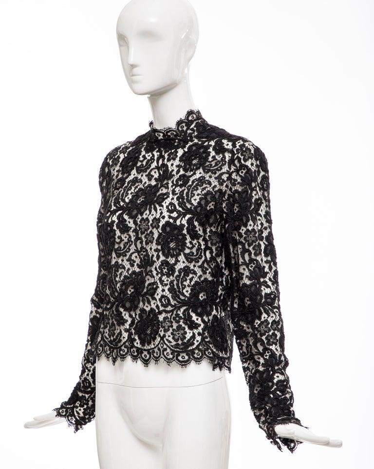 Bill Blass Black Lace Top, Circa: 1970's For Sale 6