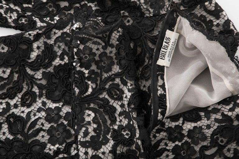 Bill Blass Black Lace Top, Circa: 1970's For Sale 7