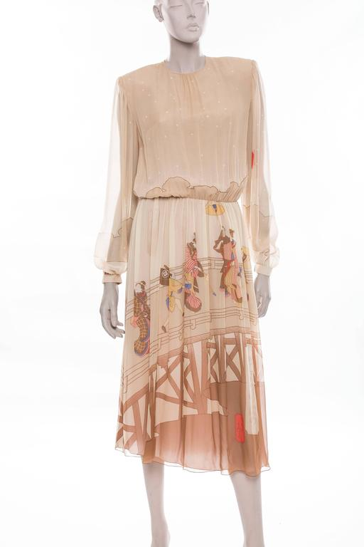 Hanae Mori silk chiffon long sleeve 1970's dress with printed Geisha's front and back,fully lined with back snaps.