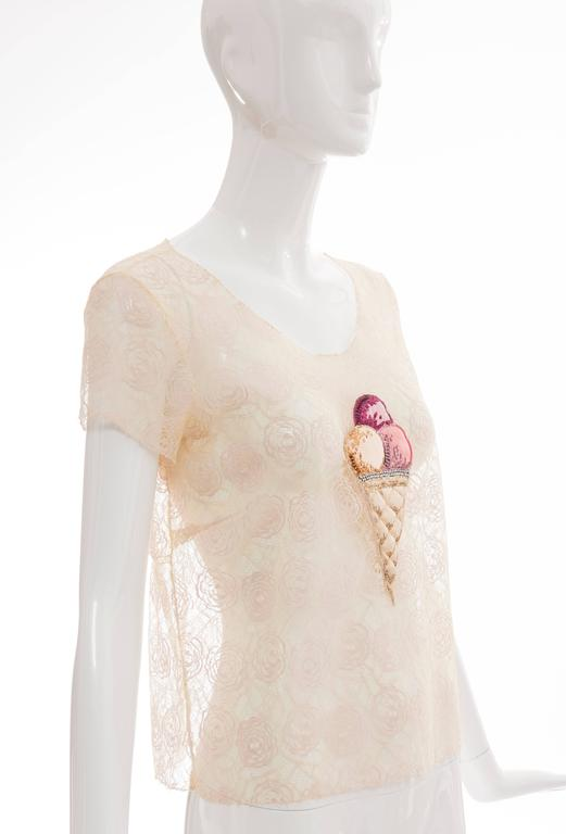 Women's Chanel Lace Top With Embellished Ice Cream Applique, Cruise 2004 For Sale