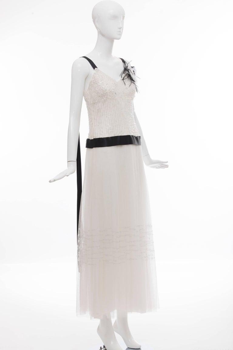 Chanel White Nylon Mesh Sequins Pearls Black Satin Evening