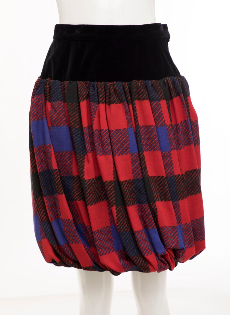 Black Yves Saint Laurent Rive Gauche Silk Wool Challis Balloon Skirt, Circa 1980s For Sale